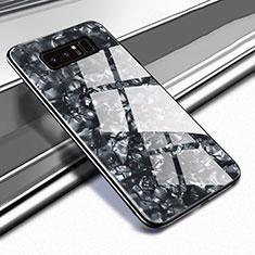 Silikon Schutzhülle Rahmen Tasche Hülle Spiegel M04 für Samsung Galaxy Note 8 Schwarz