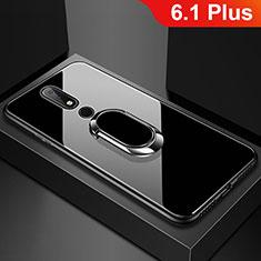 Silikon Schutzhülle Rahmen Tasche Hülle Spiegel mit Fingerring Ständer für Nokia 6.1 Plus Schwarz