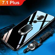 Silikon Schutzhülle Rahmen Tasche Hülle Spiegel mit Fingerring Ständer für Nokia 7.1 Plus Schwarz