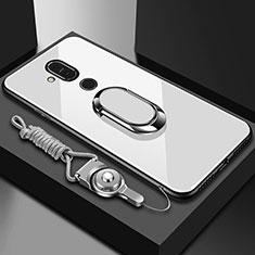 Silikon Schutzhülle Rahmen Tasche Hülle Spiegel mit Fingerring Ständer für Nokia 7.1 Plus Weiß