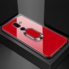 Silikon Schutzhülle Rahmen Tasche Hülle Spiegel mit Fingerring Ständer für Nokia 7 Plus Rot