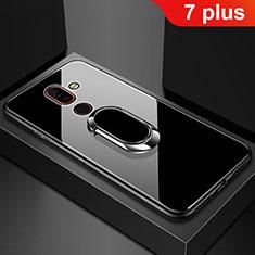 Silikon Schutzhülle Rahmen Tasche Hülle Spiegel mit Fingerring Ständer für Nokia 7 Plus Schwarz