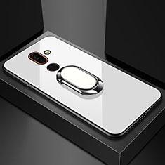 Silikon Schutzhülle Rahmen Tasche Hülle Spiegel mit Fingerring Ständer für Nokia 7 Plus Weiß