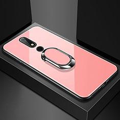 Silikon Schutzhülle Rahmen Tasche Hülle Spiegel mit Fingerring Ständer für Nokia X6 Rosegold