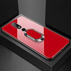Silikon Schutzhülle Rahmen Tasche Hülle Spiegel mit Fingerring Ständer für Nokia X6 Rot