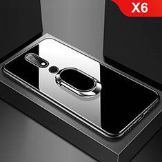 Silikon Schutzhülle Rahmen Tasche Hülle Spiegel mit Fingerring Ständer für Nokia X6 Schwarz
