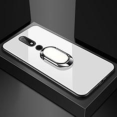Silikon Schutzhülle Rahmen Tasche Hülle Spiegel mit Fingerring Ständer für Nokia X6 Weiß