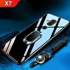 Silikon Schutzhülle Rahmen Tasche Hülle Spiegel mit Fingerring Ständer für Nokia X7 Schwarz