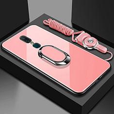 Silikon Schutzhülle Rahmen Tasche Hülle Spiegel mit Fingerring Ständer für Oppo A9 Rosegold