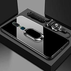 Silikon Schutzhülle Rahmen Tasche Hülle Spiegel mit Fingerring Ständer für Oppo A9 Schwarz