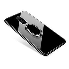 Silikon Schutzhülle Rahmen Tasche Hülle Spiegel mit Fingerring Ständer für Samsung Galaxy A6 Plus (2018) Schwarz