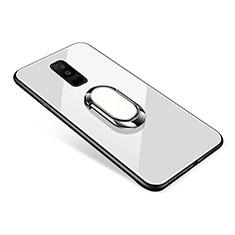 Silikon Schutzhülle Rahmen Tasche Hülle Spiegel mit Fingerring Ständer für Samsung Galaxy A6 Plus (2018) Weiß