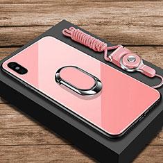 Silikon Schutzhülle Rahmen Tasche Hülle Spiegel mit Fingerring Ständer für Xiaomi Mi 8 Explorer Rosegold