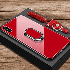 Silikon Schutzhülle Rahmen Tasche Hülle Spiegel mit Fingerring Ständer für Xiaomi Mi 8 Explorer Rot