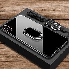 Silikon Schutzhülle Rahmen Tasche Hülle Spiegel mit Fingerring Ständer für Xiaomi Mi 8 Explorer Schwarz