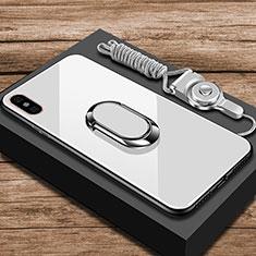 Silikon Schutzhülle Rahmen Tasche Hülle Spiegel mit Fingerring Ständer für Xiaomi Mi 8 Explorer Weiß