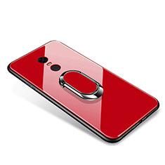 Silikon Schutzhülle Rahmen Tasche Hülle Spiegel mit Fingerring Ständer für Xiaomi Redmi 5 Plus Rot