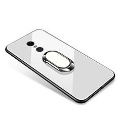 Silikon Schutzhülle Rahmen Tasche Hülle Spiegel mit Fingerring Ständer für Xiaomi Redmi Note 5 Indian Version Weiß