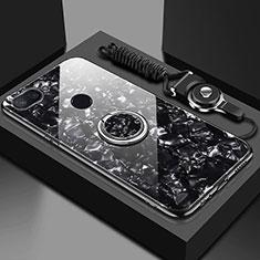 Silikon Schutzhülle Rahmen Tasche Hülle Spiegel mit Magnetisch Fingerring Ständer A01 für Xiaomi Mi 8 Lite Schwarz