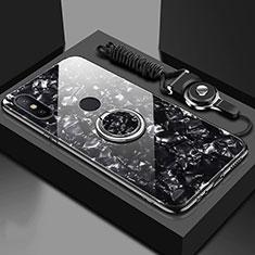 Silikon Schutzhülle Rahmen Tasche Hülle Spiegel mit Magnetisch Fingerring Ständer A01 für Xiaomi Mi A2 Schwarz