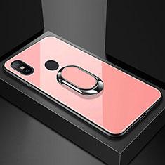 Silikon Schutzhülle Rahmen Tasche Hülle Spiegel mit Magnetisch Fingerring Ständer A01 für Xiaomi Redmi 6 Pro Rosegold