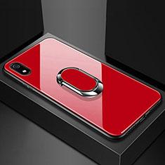Silikon Schutzhülle Rahmen Tasche Hülle Spiegel mit Magnetisch Fingerring Ständer A01 für Xiaomi Redmi 7A Rot