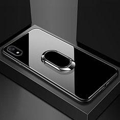 Silikon Schutzhülle Rahmen Tasche Hülle Spiegel mit Magnetisch Fingerring Ständer A01 für Xiaomi Redmi 7A Schwarz