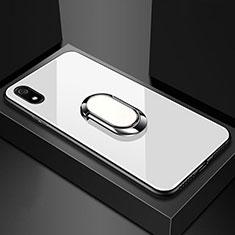 Silikon Schutzhülle Rahmen Tasche Hülle Spiegel mit Magnetisch Fingerring Ständer A01 für Xiaomi Redmi 7A Weiß