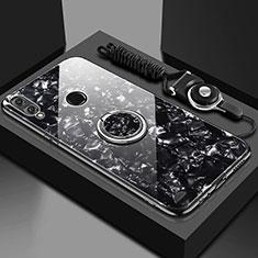 Silikon Schutzhülle Rahmen Tasche Hülle Spiegel mit Magnetisch Fingerring Ständer für Huawei Enjoy 9 Plus Schwarz