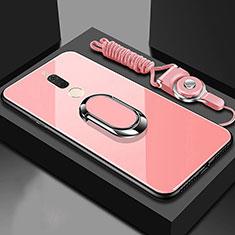 Silikon Schutzhülle Rahmen Tasche Hülle Spiegel mit Magnetisch Fingerring Ständer für Huawei G10 Rosegold