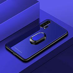 Silikon Schutzhülle Rahmen Tasche Hülle Spiegel mit Magnetisch Fingerring Ständer für Huawei Honor 20 Pro Blau
