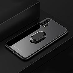 Silikon Schutzhülle Rahmen Tasche Hülle Spiegel mit Magnetisch Fingerring Ständer für Huawei Honor 20 Pro Schwarz