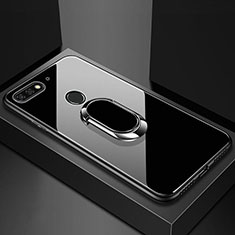 Silikon Schutzhülle Rahmen Tasche Hülle Spiegel mit Magnetisch Fingerring Ständer für Huawei Honor 7A Schwarz