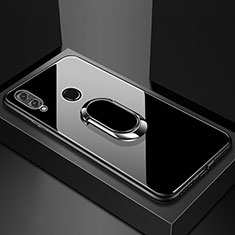 Silikon Schutzhülle Rahmen Tasche Hülle Spiegel mit Magnetisch Fingerring Ständer für Huawei Honor 8X Schwarz