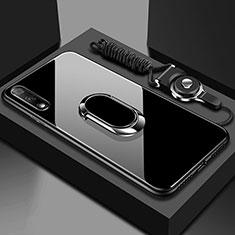 Silikon Schutzhülle Rahmen Tasche Hülle Spiegel mit Magnetisch Fingerring Ständer für Huawei Honor 9X Schwarz