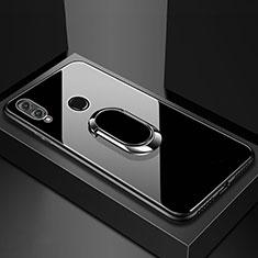 Silikon Schutzhülle Rahmen Tasche Hülle Spiegel mit Magnetisch Fingerring Ständer für Huawei Honor View 10 Lite Schwarz
