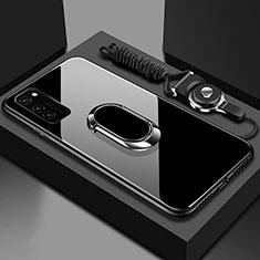 Silikon Schutzhülle Rahmen Tasche Hülle Spiegel mit Magnetisch Fingerring Ständer für Huawei Honor View 30 5G Schwarz