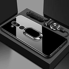 Silikon Schutzhülle Rahmen Tasche Hülle Spiegel mit Magnetisch Fingerring Ständer für Huawei Mate 20 Lite Schwarz