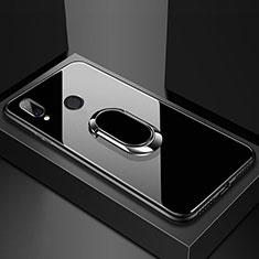 Silikon Schutzhülle Rahmen Tasche Hülle Spiegel mit Magnetisch Fingerring Ständer für Huawei Nova 3e Schwarz