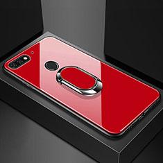 Silikon Schutzhülle Rahmen Tasche Hülle Spiegel mit Magnetisch Fingerring Ständer für Huawei Y6 (2018) Rot