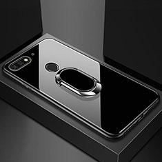 Silikon Schutzhülle Rahmen Tasche Hülle Spiegel mit Magnetisch Fingerring Ständer für Huawei Y6 Prime (2018) Schwarz
