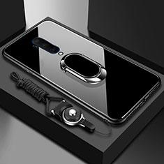 Silikon Schutzhülle Rahmen Tasche Hülle Spiegel mit Magnetisch Fingerring Ständer für OnePlus 7T Pro Schwarz