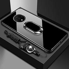 Silikon Schutzhülle Rahmen Tasche Hülle Spiegel mit Magnetisch Fingerring Ständer für OnePlus 7T Schwarz
