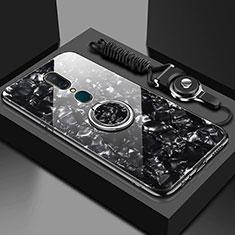 Silikon Schutzhülle Rahmen Tasche Hülle Spiegel mit Magnetisch Fingerring Ständer für Oppo A9 Schwarz