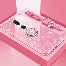 Silikon Schutzhülle Rahmen Tasche Hülle Spiegel mit Magnetisch Fingerring Ständer für Oppo A9X Rosa