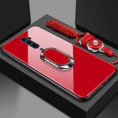 Silikon Schutzhülle Rahmen Tasche Hülle Spiegel mit Magnetisch Fingerring Ständer für Oppo Reno 10X Zoom Rot