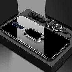 Silikon Schutzhülle Rahmen Tasche Hülle Spiegel mit Magnetisch Fingerring Ständer für Oppo Reno 10X Zoom Schwarz