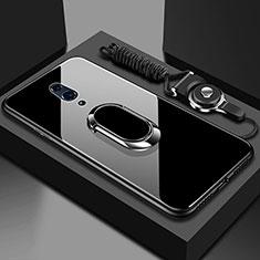Silikon Schutzhülle Rahmen Tasche Hülle Spiegel mit Magnetisch Fingerring Ständer für Oppo Reno Schwarz