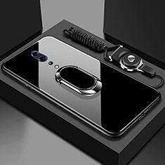 Silikon Schutzhülle Rahmen Tasche Hülle Spiegel mit Magnetisch Fingerring Ständer für Oppo Reno Z Schwarz