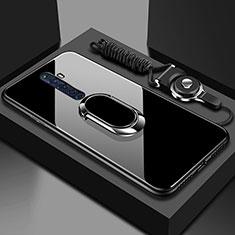 Silikon Schutzhülle Rahmen Tasche Hülle Spiegel mit Magnetisch Fingerring Ständer für Oppo Reno2 Z Schwarz